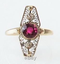 Antique Victorian Ruby 14k Filigree Yellow Gold Vintage Estate Jewelry Ring Old