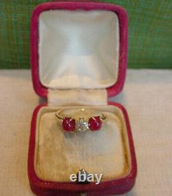 Antique Victorian Ruby and Old Mine Cut Diamond Ring 18K Gold