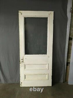 Antique Victorian Solid Wood Entry Door Half Glass Bullseyes Old Vtg 414-19E