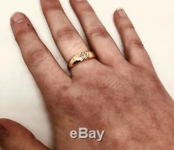 Antique Vintage Old Cut Diamond 18ct Yellow Gold Gypsy Ring Circa 1920 Size Q