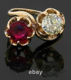 Antique heavy 14K YG 3.41CT Old Miner diamond & gemstone cocktail ring size