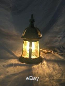 Antique porch Sconce Light Fixture Amber Stained Glass Vtg Old Cottage 103-18J