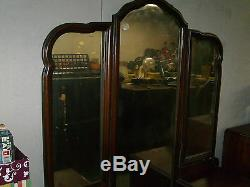 Antique vintage large vanity dresser with tri fold old mirror 6 working drawers