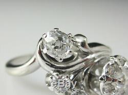 Art Deco Diamond Ring Flower Cluster Old Mine 14K White Gold Vintage Antique