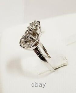 Art Deco Platinum Old Mine Cut Diamonds Hand Etched Crown Ring 0.76 ctw 4.9 g