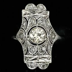 Edwardian Old European Cut Diamond Platinum Dinner Ring Cocktail Antique Estate