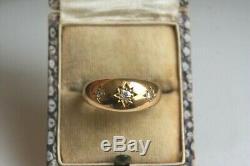 Fine Antique 18 Carat Gold Three Stone Old Cut Diamond Star Gypsy Ring 5.1 G