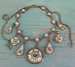 Fine Old Vintage Antique Festoon Floral Micro Mosaic Necklace