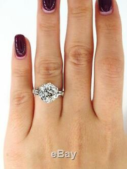 Gia 4.57ct Antique Art Nouveau Old Mine Diamond Solitair Engagement Wedding Ring