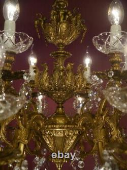 Huge 18 Light Crystal Chandelier Brass Vintage Lamp Cut Crystal Bowls Old Ø 32