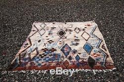 Moroccan Boujad Wool Vintage Handmade Old Rug Berber carpet (5Ft x 7 FT)