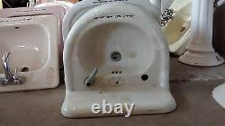 Old Antique Farmhouse Porcelain Cast Iron Bathroom Sink with Back Splash