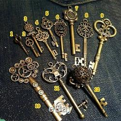 Old Antique Vintage Brass Skeleton 12 Keys Lot Small Large Pendant Necklace Craf