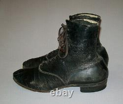 Old Antique Vtg 1900s Mens Edwardian / Victorian Leather Shoes Boots Size 8 Nice