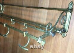Old Antique Vtg Solid Brass Railroad Shelf Luggage Rack Wall Coat Hook Pullman