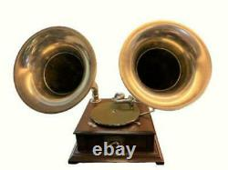 Old Talking Machine Vintage HMV Phonograph Twin-Horn Antique Gramophone