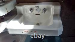 Old Vintage Art Deco White Standard Bathroom Sink Original Porcelain Faucet