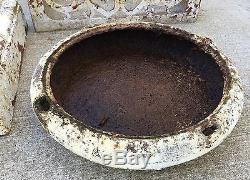 Old Vtg Antique Cast Iron Ornate White Chippy Paint Garden Cemetary Planter Urn