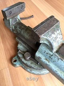 Old Vtg Antique Fpu Bench Vise Poland No. 326 Metal Blacksmith Workshop Tool