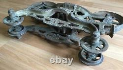 Old Vtg Antique Hay Trolley Carrier Unloader Myers Ok Pulley Farm Barn Tool