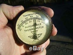 Original 1940' s 1950' s Vintage Accessory Automobile visor Thermometer gm bombs