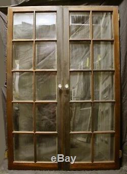 Pair 40x63 Antique Vintage Old Wood Wooden Cabinet Pantry Door Window 30 Glass
