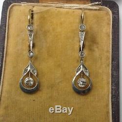 Platinum 18k Diamond Earrings. Edwardian. Antique. Old Mine Cut And Rose Diamond