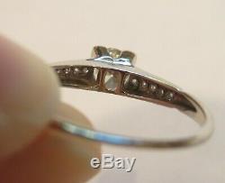 Platinum Antique Vintage Art Deco Old Mine Cut Diamond Engagement Wedding Ring