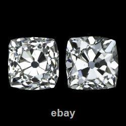 RARE 2ct VICTORIAN OLD MINE CUT DIAMOND STUD EARRINGS LOOSE PAIR CUSHION ANTIQUE