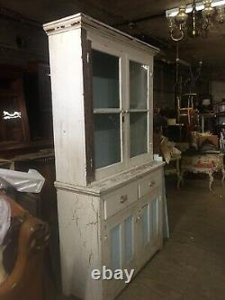 Rare And Beautiful Primitive Antique Kitchen Cabinet Old Paint Victorian Ship Ok
