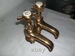 SOLID Brass Original Antique belfast sink taps refurbished old vintage