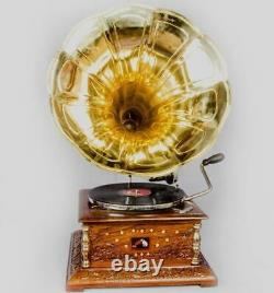 Vintage 1880 HMV Gramophone With Antique Old Music Square Box Phonograph BG 05