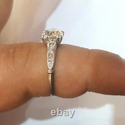 Vintage ANTIQUE ROUND OLD mine CUT 2.00ct Diamond Platinum ring