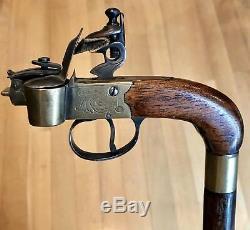 Vintage Antique 19C Gadget Walking Stick Cane Bamboo Shaft Old 36L Excellent