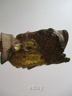 Vintage Antique Buddha Head Old Cast Iron Sculpture Statue Asian Art Heirloom