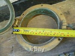 Vintage Brass Old Sailing Yacht Opening Porthole With Thumb Screw-Mid Century