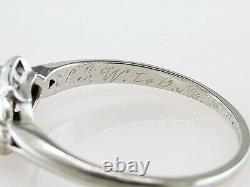 Vintage Diamond Engagement Ring Old European Cut. 35ct Platinum Art Deco Antique