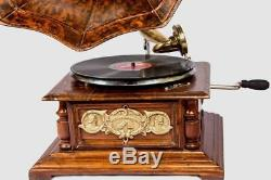 Vintage Hmv Antique Old Machine Wooden Collectible Gramophone Phonograph HB 016