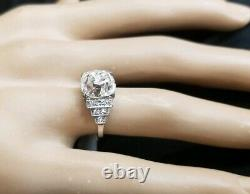 Vintage OLD mine cushion CUT 4.17Ct Diamond PLATINUM engagement ring SI1-H