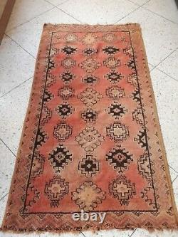Vintage Old Carpet Moroccan Berber Rug Oriental, 6.9 x 3.7 ft