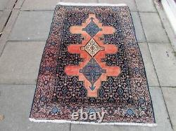 Vintage Old Traditional Hand Made Oriental Pink Blue Wool Large Rug 190x127cm