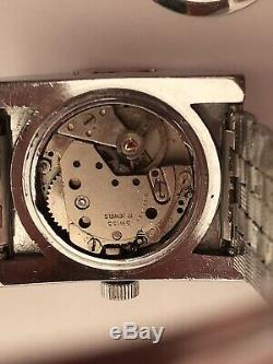 Vintage Sicura Jump Hour Red Dial Watch Ladies Rare Wrist Old Mechanical 1970s