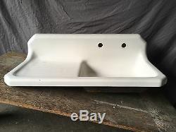 Vtg 42 Cast Iron White Porcelain Kitchen Farmhouse Sink Old Plumbing 645-17E
