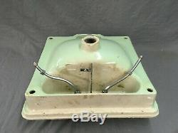 Vtg Drop In Jadeite Green Porcelain Ceramic Bathroom Sink Old Lavatory 758-17E