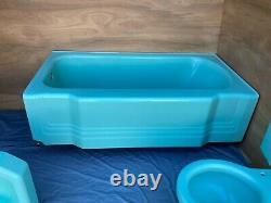 Vtg Mid Century Deco Jadeite Ming Green Bathroom Set Old Tub Sink Toilet 123-21E