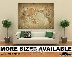 Wall Art Canvas Picture Print Antique Old Vintage World Map Star 3.2