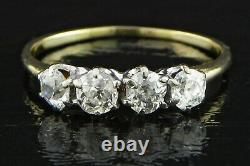 14k 4 Diamond Band Old Mine Cut Diamonds 0.90 Ctw Jaune / Or Blanc