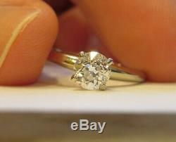 14k Antique Vintage Art Deco Vs Old Cut Européenne Bague De Fiançailles Diamant Naturel
