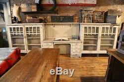 15ft Vintage Antique Bibliothèque Avec Construit Dans Le Bureau Ferme Rustique Blanc Rare Vieux