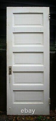 17 Disponible 30x78 Antique Vintage Old Solid Wood Wooden Interior Door 5 Panneau